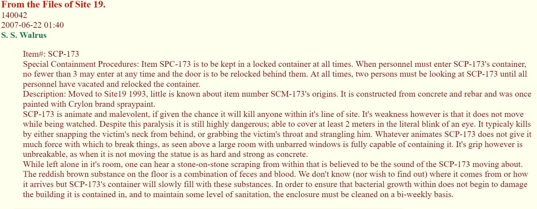 SCP-173 (found 4chan post