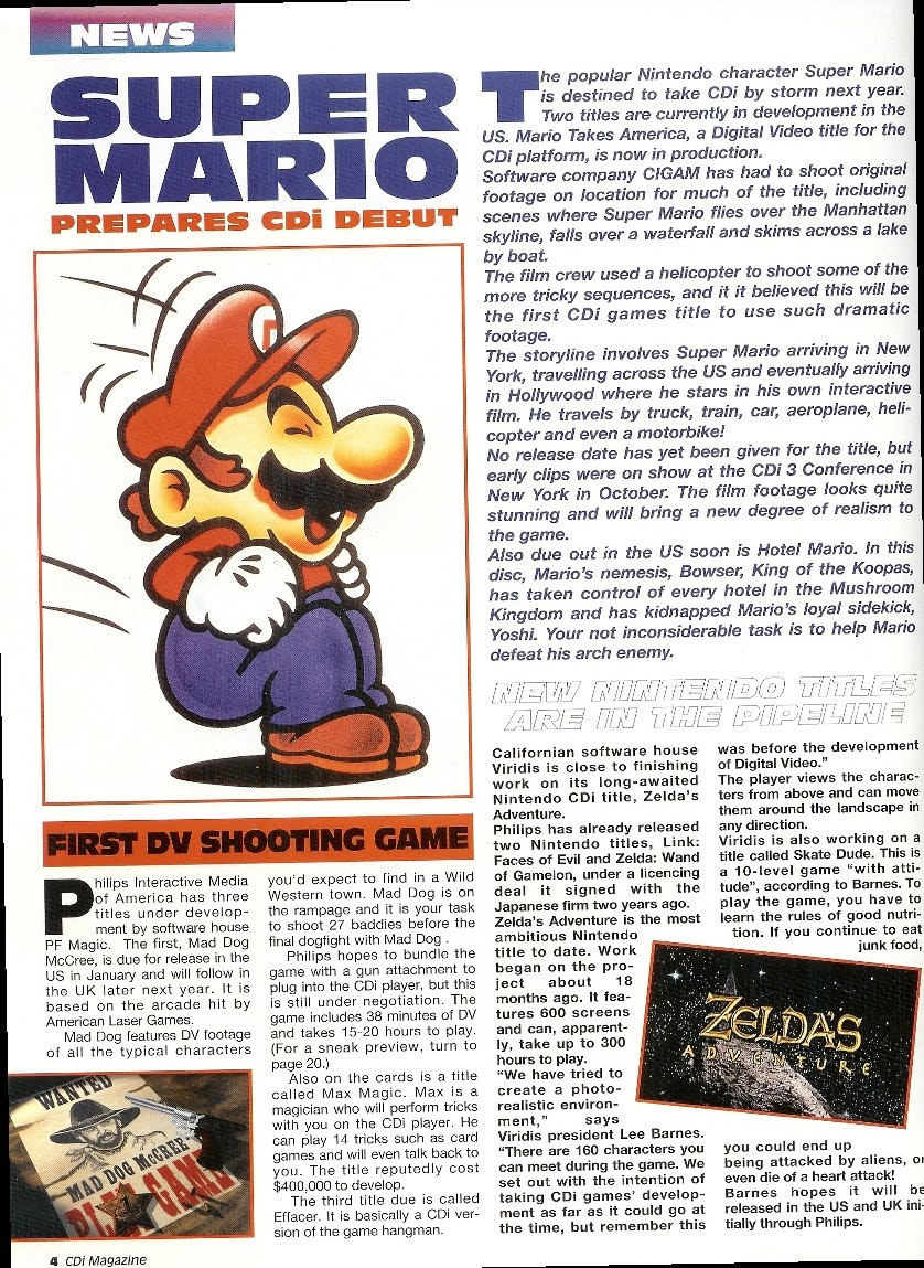 Mario Takes America Cancelled Philips Cd I Edutainment Game 1992