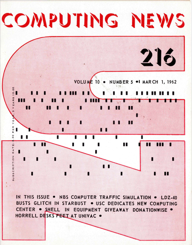 """Computing News"" Issue #216 - Computing News (partially found early computer magazine/newsletter; 1950s-1960s)"