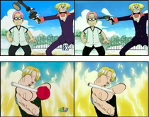 Comparison of edited 4kids version (left) and uncut version (right)