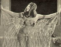 "Main actress Theda Bara in one of her ""risque"" outfits in the film."