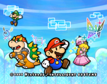 The beta version of Super Paper Mario's title screen as is still in the Wii version's files, was the title screen for the GameCube version