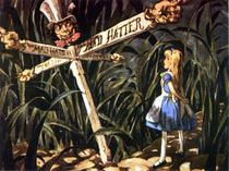 The iconic Mad Hatter signpost.