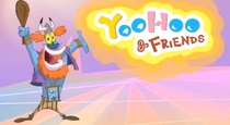 Father Time standing next to the YooHoo & Friends logo.