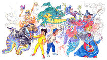 Drawing created by Ken Cope in 1991 depicting the characters in The Magic 7.