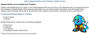 Neopets Mobile (lost features of discontinued T-Mobile
