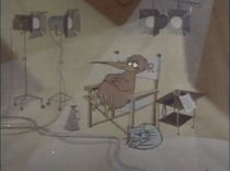 A frame from the start of the 1975 version of the Goodnight Kiwi sign-off. Here, the Kiwi is sitting in his directors' chair.