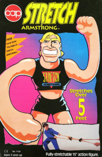 The box of a Stretch Armstrong that included the comic